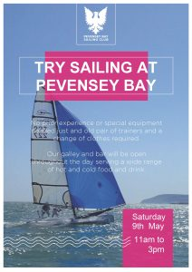 PBSC openday poster for 9th May 2020